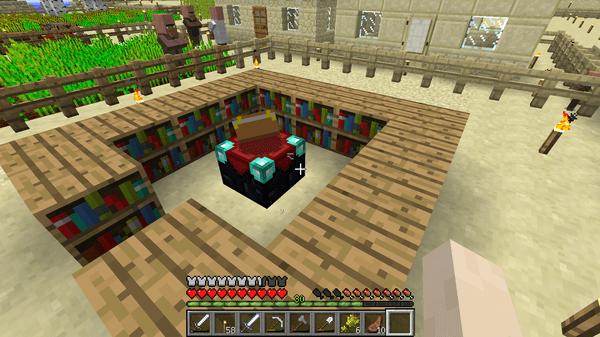 エンチャントテーブルを本棚で囲み、ようやく作業場の完成です!