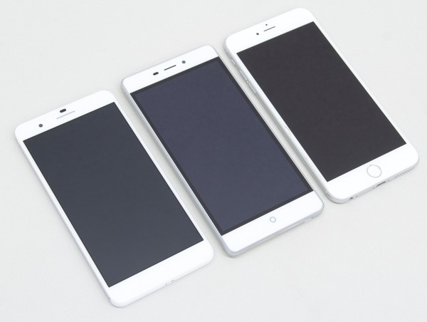 honor6 Plus(左)とZTE Blade V580、iPhone6 Plusとの大きさの違い