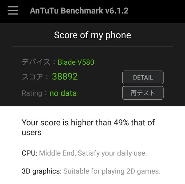 AnTuTuベンチマークの結果は「35661」でした