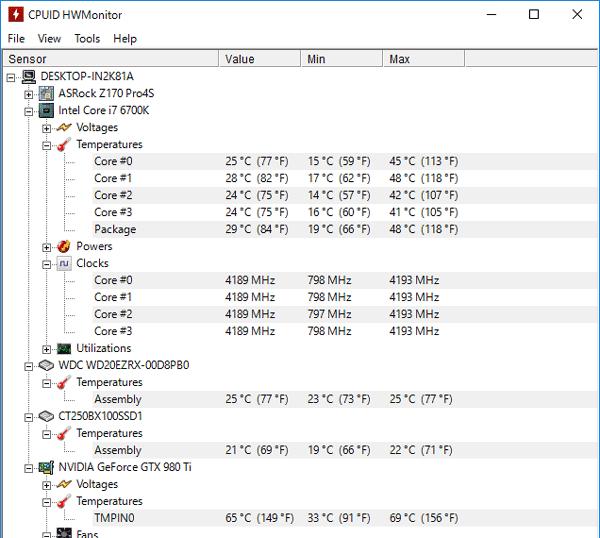 FF14ベンチを30分間実行し続けたときの最高温度はCPUが48度、GPUが69度でした