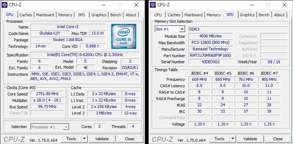 Core i5-6200Uの詳細情報。メモリーは4GB×2で構成されています