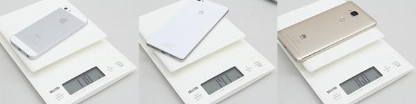 4.0インチのiPhone SEは118g、5.0インチのP8liteは141g、5.5インチのHUAWEI GR5は160gでした