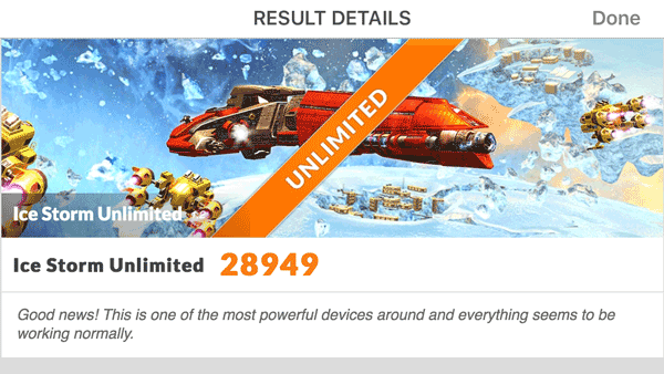 iPhoneは「Ice Storm Unlimited」で「28949」という結果。そのほかのテストでは軽すぎを表わす「Maxed Out!」に