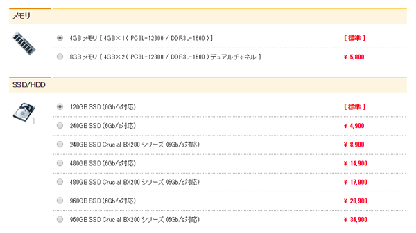 購入時のオプション画面。8GBメモリーは5800円(税別)で用意されています