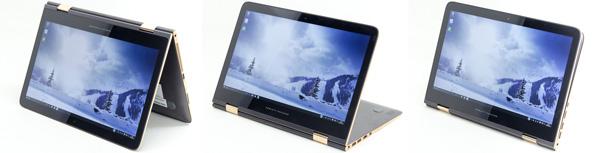 液晶ディスプレイを回転させることで、テントモードやスタンドモード、タブレットモードで利用できます