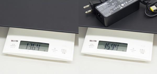 重量は実測で1.364kg、電源アダプター込みで1.594kgでした
