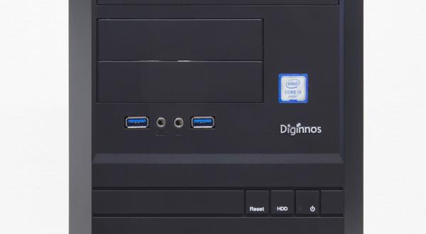 フロントパネルにはUSB3.0×2とマイク/ヘッドホン端子。電源ボタンやリセットボタンも用意されています
