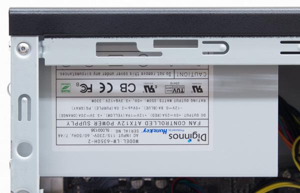 電源の容量は350W。標準では80PLUS規格に非対応ですが、パーツカスタマイズでより高性能なパーツに変更できます