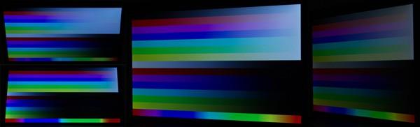 上下60度、右方向60度/120度に傾けたときの映像。視野角はそれほど広くはありませんが、実用的に使えるレベルです