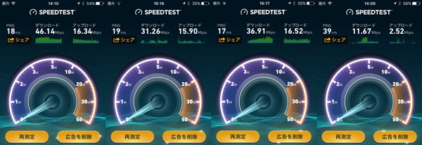 SpeedTest.netによる中華電信の通信速度計測結果。場所や時間によってバラつきはありますが、30MBpsが平均的な印象