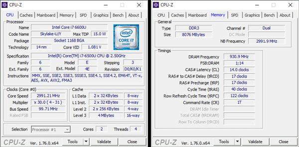Core i7-6500Uの詳細情報。メモリーにはDDR3Lが使われています