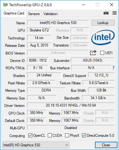 Intel HD Graphics 530の詳細情報