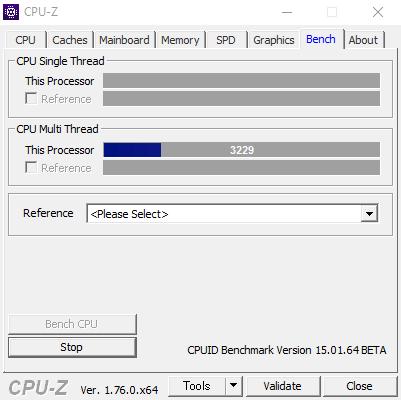 CPUのストレステストを実行している状態。「Bench」タブの「Stress CPU」をクリックすることで実行できます