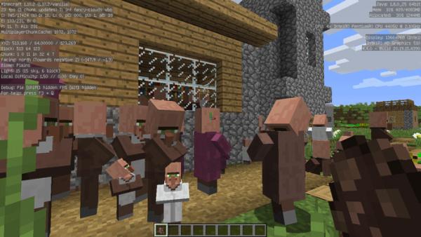 村人を大量にスポーンさせたところ、平均FPSは20前後にまで落ち込みました