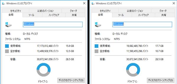 出荷時のストレージ空き容量(左)と、Windows Update実行後の空き容量(右)