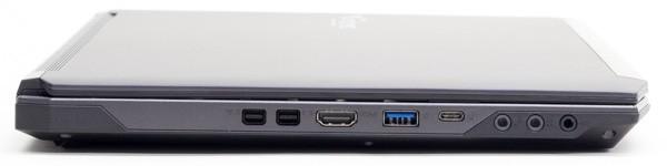左側面にはminiDisplayPort×2、HDMI、USB3.0、USB3.1 Type-C、オーディオ端子類が用意されています