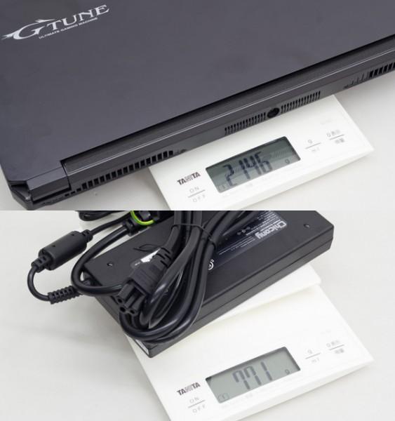 重量はカタログでは2kgとされていますが、実測では2.146kgでした。ACアダプターは771gで、合計すると2.922kgとなります