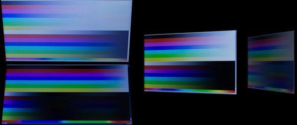 液晶ディスプレイの角度を上下30度、右方向に30/60度動かしたときの映像