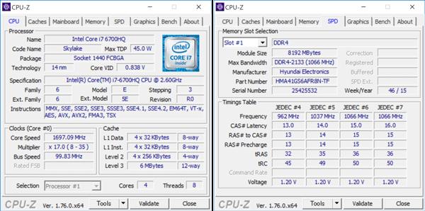 Core i7-6700HQの詳細情報。メモリーはDDR4 8GB×2の構成