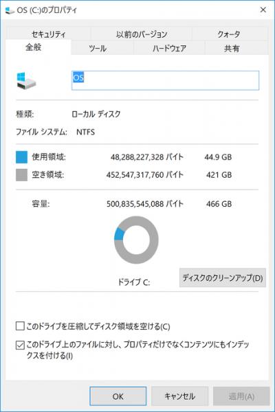 Cドライブには421GBの空き容量が残されていました