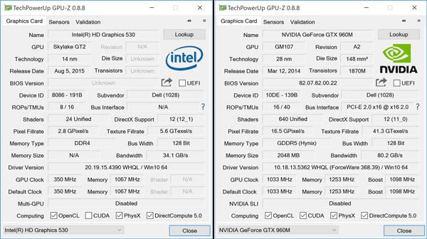 負荷の軽いときはCPU内蔵のIntel HD Graphics 530を利用し、負荷の高いときにはGeForce GTX 960Mを利用します
