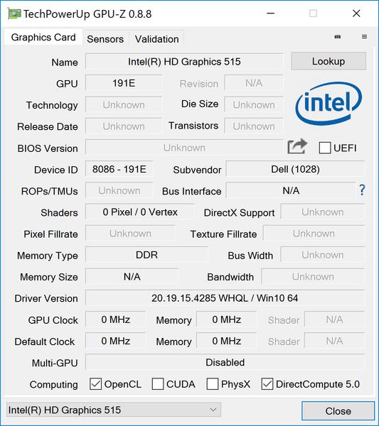 グラフィックス機能にはCPU内蔵のIntel HD Graphics 515を利用します