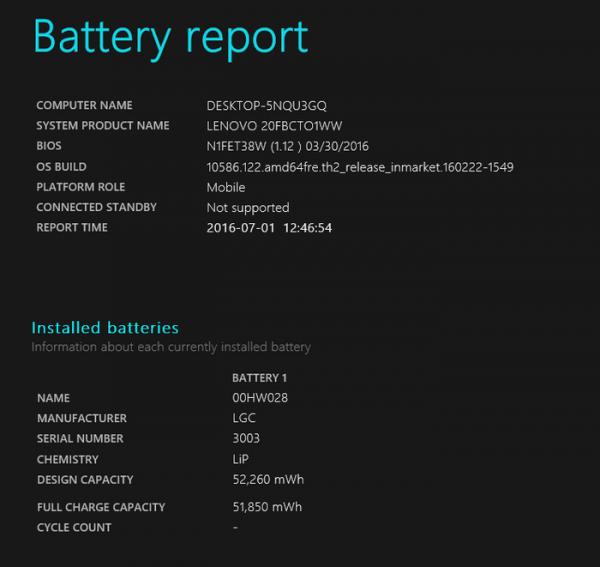 試用機のバッテリーレポート。設計上の(バッテリー)容量は52,260mWhでした