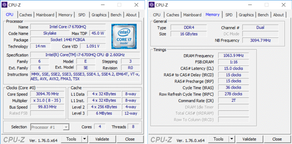 Core i5-6500の詳細情報。メモリーはDDR4 4GB×2の構成です