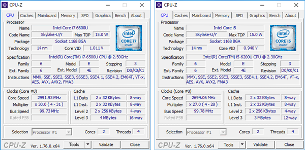 Core i7-6500U(左)とCore i5-6200U(右)の詳細情報