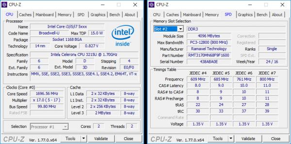 Celeron 3215Uの詳細情報。メモリーにはDDR3Lが使われていました