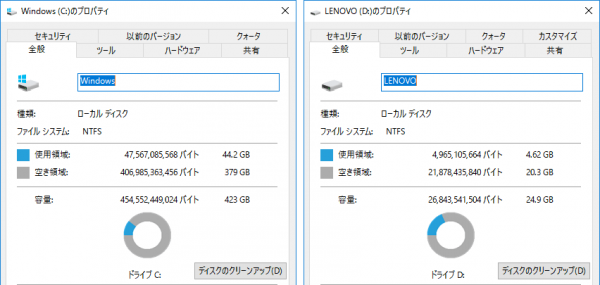 システム用のCドライブとは別に、ソフトインストール用/データ保存用にDドライブが用意されていました ※クリックで拡大