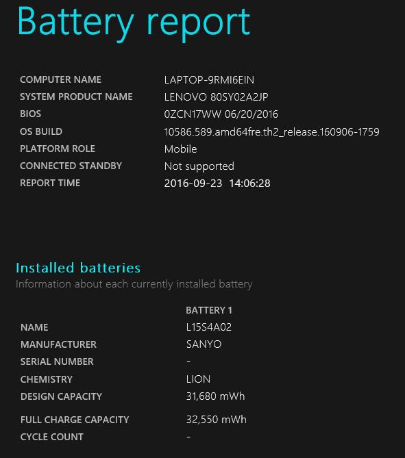 Lenovo V310のバッテリーレポート。設計上の(バッテリー)容量は37,700mWhでした