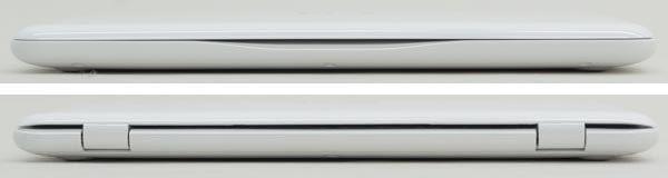 本体前面と背面。高さは最薄部で18.45mm、最厚部で19.88mmです。本体はコンパクトですが、やや厚みがあるのが残念