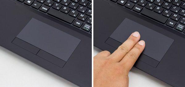 タッチパッドは十分なサイズ。ただしゲーム中に反応してしまうことがあるので、Fnキー+F1キーを押して無効化しておきましょう