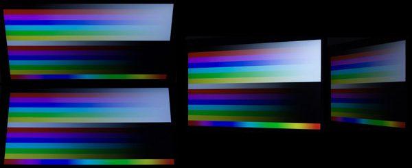 視野角はそれほど広いわけではありませんが、角度を変えても急激に色が落ち込むことはありません。カタログには明記されていませんが、VAパネルのような印象です