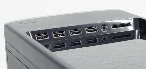 天面部にはUSB3.0×2、USB2.0×2、ヘッドホン出力、SDメモリーカードスロット