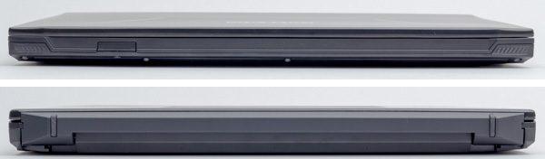前面部(上)と背面部(下)。やや厚めの印象ですが、ゲーミングノートPCとしては普通