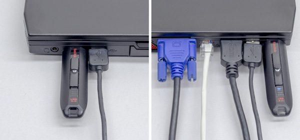 左側面にあるUSB3.0の幅がややきつめです。USBメモリーを利用すると、ケーブルが干渉してうまく挿せませんでした