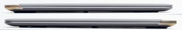 HP Spectre 13の側面。最薄部で10.4mm、最厚部は11.2mmと非常にスリムです