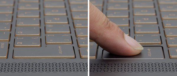 キーストロークは約1.3mm。それほど深いわけではありませんが、入力時に軽いクリック感があり、確かな手ごたえを感じます