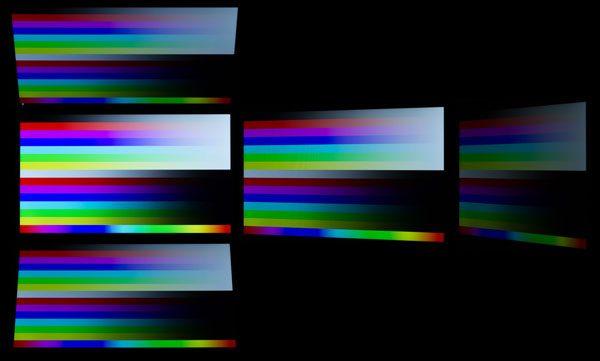 IPSパネルを使っているだけあって、視野角は広めです。ただ画面がやや暗いためか、斜めから見た時の映像でコントラストが落ちているような印象を受けました