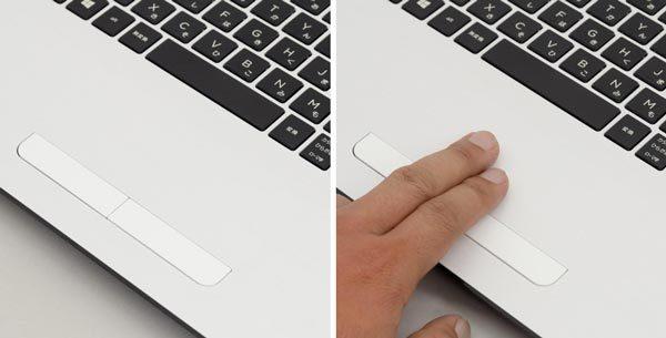 タッチパッドは左右のボタンが独立しているため、