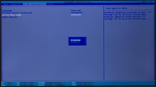 「Enabled」になっているので、「↑」キーを押して「Disabled」を選びます。そのままEnterキーを押してください