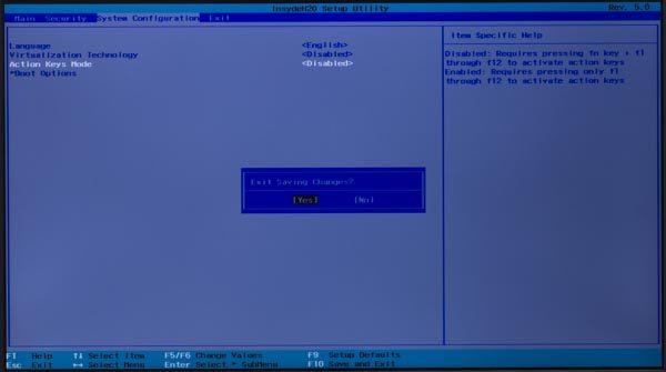 「System Configuration」の画面に戻ったら、キーボードのF10キーを押します。
