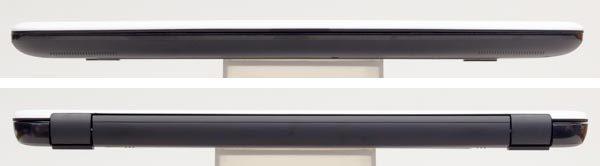 高さは最薄部で23.5mm、最厚部で24.5mmです。15.6型ノートパソコンとしては、標準的な厚み