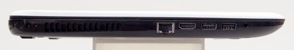 左側面には電源コネクター、有線LAN、HDMI、USB3.0、USB2.0、ヘッドホン出力