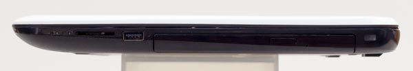 右側面にはSDメモリーカードスロットとUSB2.0、光学ドライブが用意されています