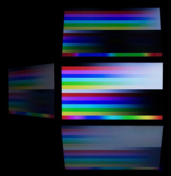 視野角はそれほど広くなく、映像をななめからのぞき込むとコントラストが低下します。色の落ち込み具合から見て、TNパネルが使われていると考えていいでしょう