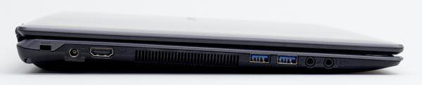 左側面には電源コネクター、HDMI端子、USB3.0端子×2、ヘッドホン/マイク兼用端子、SPIF端子が用意されています