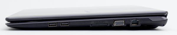 右側面はUSB2.0端子×2、SDメモリーカードスロット、アナログRGB(VGA)端子、有線LAN端子の構成